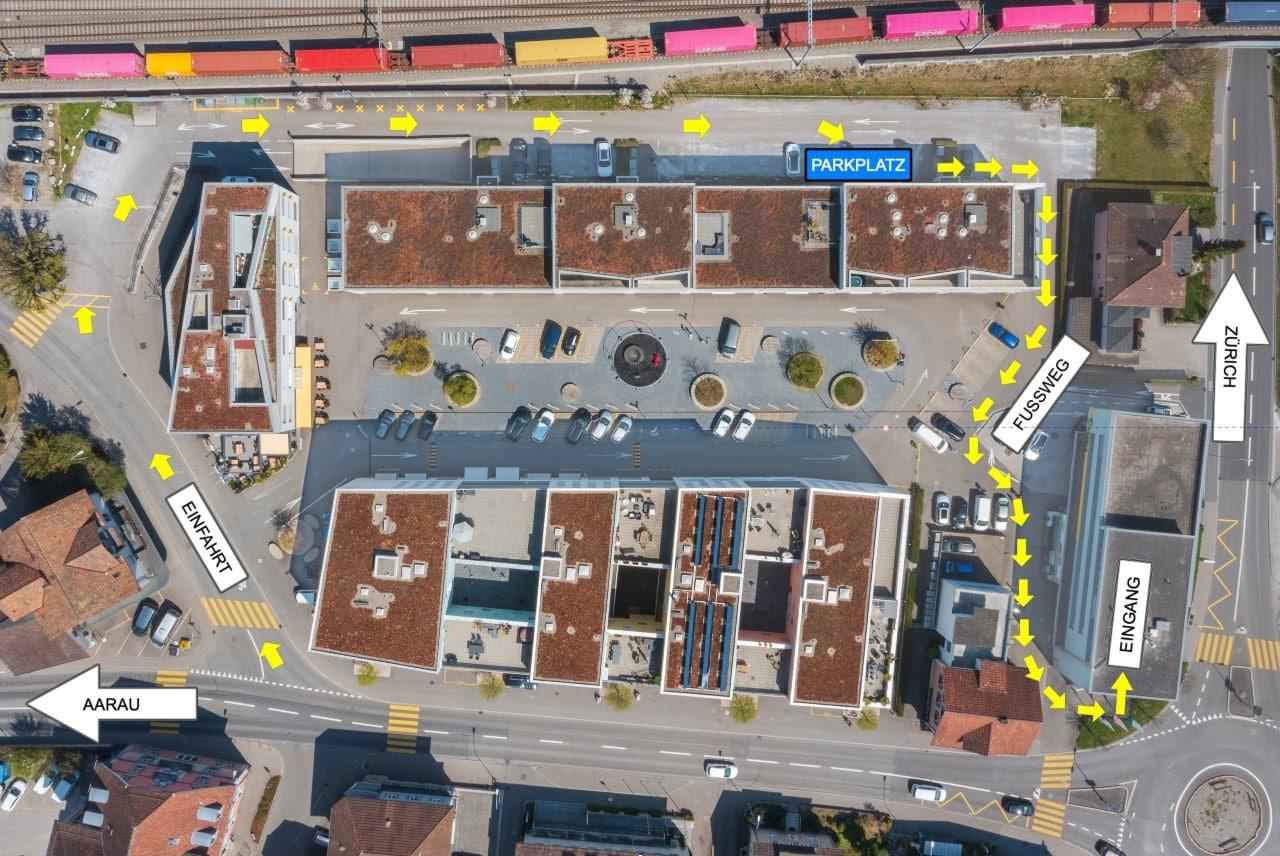 Wegbeschreibung und Parkplätze Simon Käch Rechtsanwalt Muri AG